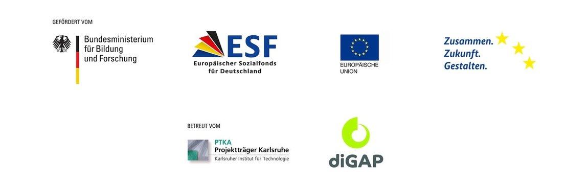 Geförder von Bundesministerium für Bildung und Forschung, ESF, EU, Zusammen Zukunft gestalten und PTKA